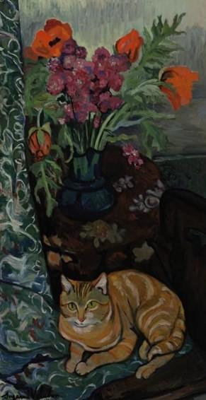 Suzanne Valadon (França, 1865-1938) Gato acomodado em frente a um buquê de flores, ost,