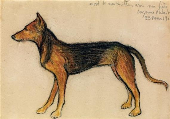 Suzanne Valadon (França, 1865-1938) O cachorro, lápis de cor sobre papel, 13 x18 cm