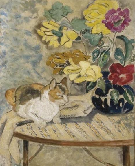 Suzanne Valadon (França, 1865-1938)GATO NUMA MESA, ÓLEO E GRAFITE SOBRE TELA, 46 38