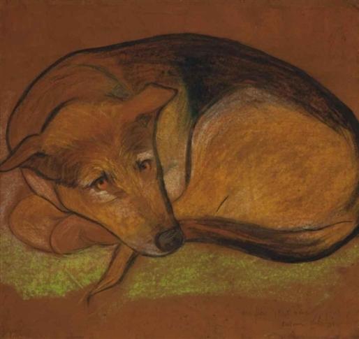 Suzanne Valadon (França, 1865-1938)Minha distinta, a 4 ans, pastel e guache sobre papel colado em placa, 40 x 42 cm
