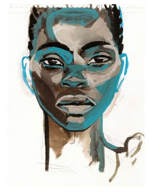 Titouan Lamazou (Marrocos, 1955)Retrato de Mulher, da exposição Tenebres au Paradis, Africaines des Grands Lacs, aquarela