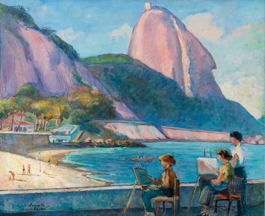 YVONNE VISCONTI CAVALLEIRO,Praia Vermelha,óleo stela, (década de 1950),65 x 80 cm