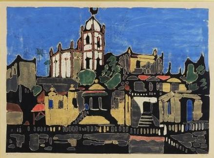Armando Balloni (Itália, 1901 - São Paulo SP, 1969) - `Igreja da Glória` - Gravura aquarelada, assinatura a lápis no CID e datado 1954.