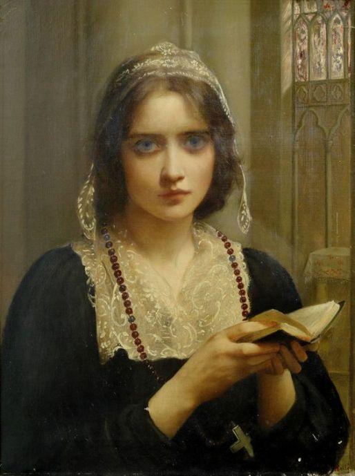 Charles Edward Hallé (França, 1846 -1914), Nas Vésperas, ost, 61 x 46 cm