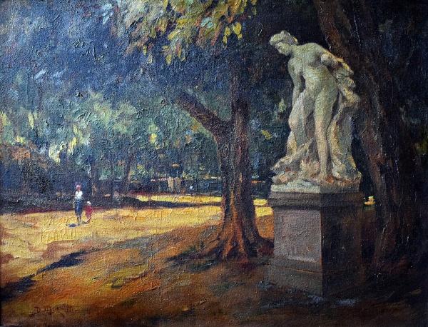 Dario Mecatti - Parque do Ibirapuera,óleo sobre tela , década de 50 , medindo 50 x 67 cm