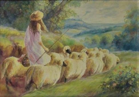 FERNANDO CASTRO (1960). A Menina e as Ovelhas, óleo s tela, 50 X 70. Assinado e datado (1998)