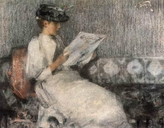 GUTHRIE, James, (Escócia, 1859 - 1930) O jornal da manhã, 1890, pastel sobre papel, 52 x 62 cm, Fine Art Society, Londres.