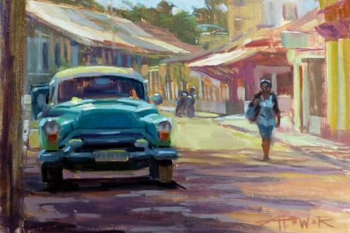 IT_S A CLASSIC—The old cars seen prominently in Havana, Cuba are the inspiration for this Anette Power painting.