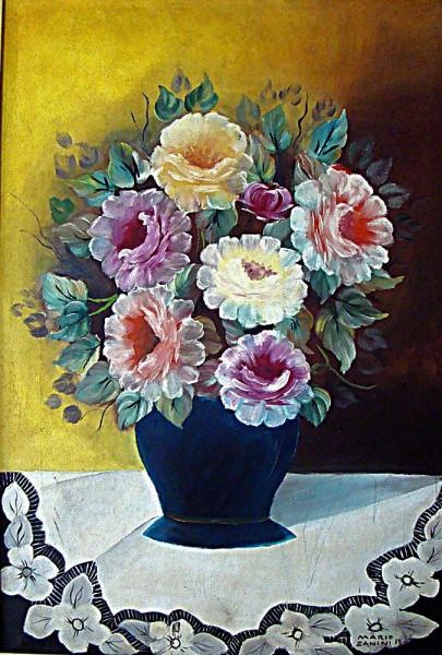 MARIO ZANINI- Vaso de flor, óleo sobre tela, medindo 60cm x 40, assinado e datado em 1958