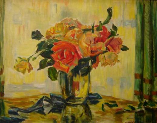 Mick Carnicelli (Itália-Brasil, 1893-1967)Vaso de flores (1938)Óleo sobre tela,56 x 70 cm