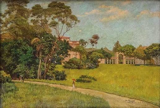 MODESTO BROCOS(1852-1936)Vista de S. Christovão,ost,34 x 49 cm