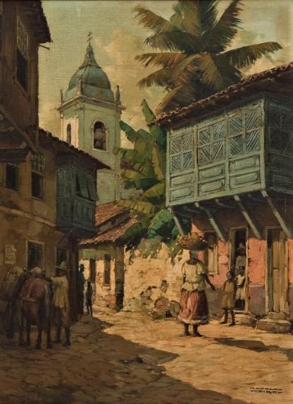 RODOLFO WEIGEL (1907-1987). Cena Urbana com Personagens em Ouro Preto - MG, óleo s tela, 47 X 37. Década de 40.