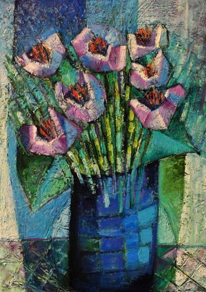 Sandra Pardo Sarro,Flores da Montanha, Óleo sobre Tela, 70 x 50, datado em 2013, assinatura no canto inferior direito,