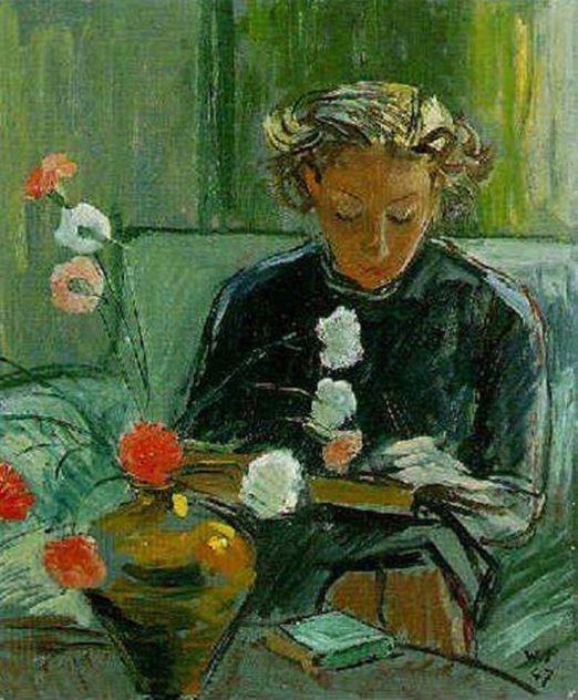 Walter Sautter (Suiça, 1911-1991) Menina lendo, 1947, ost,