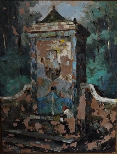 ANÉLIO LATINI (1926 - 1986). Lavadeira na Fonte no Alto da Tijuca, óleo seucatex, 35 X 26,5. Assinado e datado (1973) no c.i.d. .