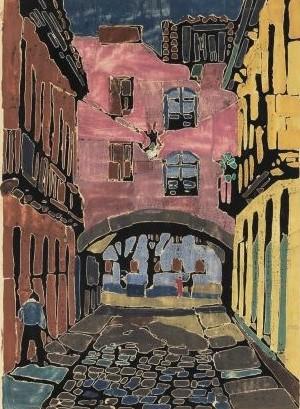 Armando Balloni (Itália, 1901 - São Paulo SP, 1969) - `Arco dos Teles` - Gravura aquarelada, assinatura a lápis no CID e datado 1954. Emoldurada. Med. 57x41 cm.