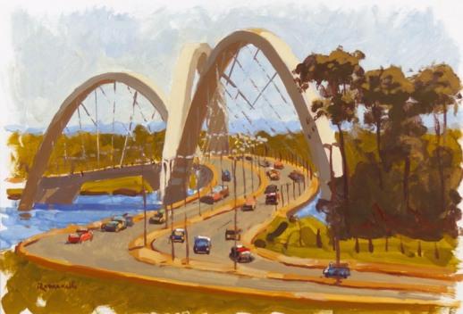Armando Romanelli, Vista de Brasilia, Ponte JK, Aquarela, 47 x 32 cm