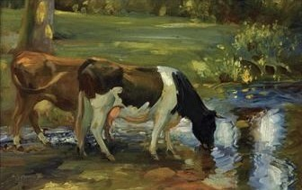 dairy cows by a stream By Sir Alfred James Munnings