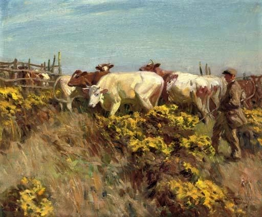 herdsman and cattle, a. james munnings
