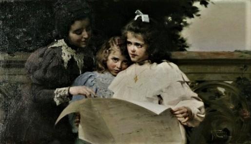 La lectura. Óleo sobre lienzo, 88 x 50 cm. Félix Mestres y Borrel (Espanha, 1873 - 1932)