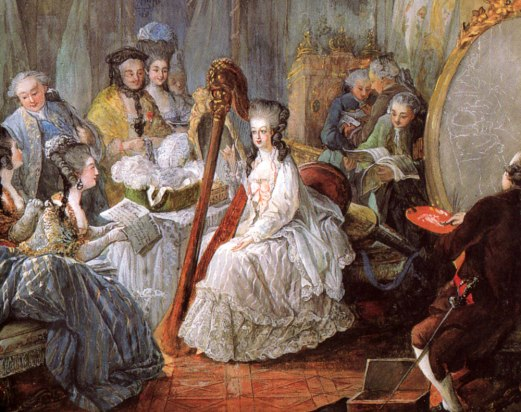 Marie-Antoinette playing the harp at court in this detail from the 1777 painting by Jean-Baptiste-André Gautier d_Agoty.