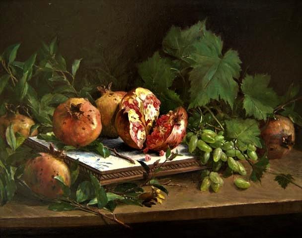 Oscar Pereira da Silva (1867-1939) Romãs 1910Óleo sobre tela 48 x 60 cm.
