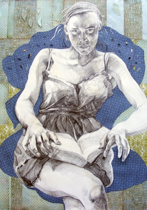 Patricia_schappler (EUA, ) Eve, graphite & collage drawing 156x 118 cm, 2011-12.