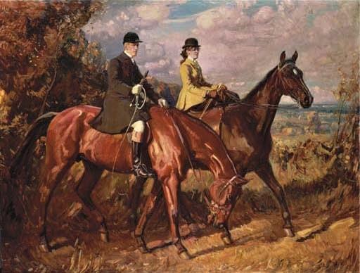 Sir Alfred James Munnings (GB, 1878-1959), chamberlain e irmã