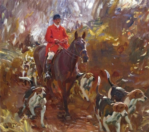 Sir Alfred James Munnings (GB, 1878-1959) um cacador com seus cachorros