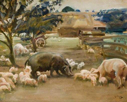 Munnings, Alfred James, 1878-1959; Pigs at Great Thurlow, Suffolk