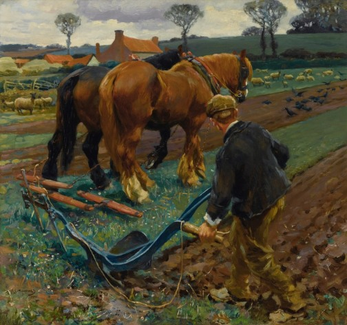 _Sir_Alfred_James_Munnings_-_The_Plough_in_Early_Spring