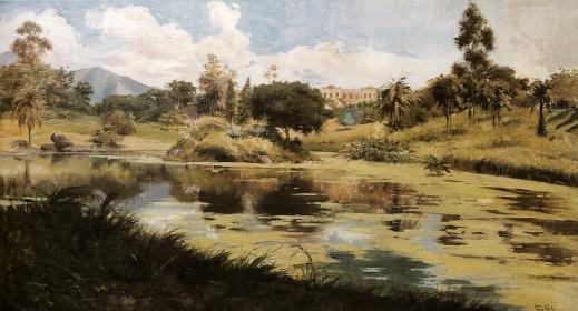 TEIXEIRA DA ROCHA - Quinta da Boa Vista - Óleo sobre madeira - 51 x 92 - 1906