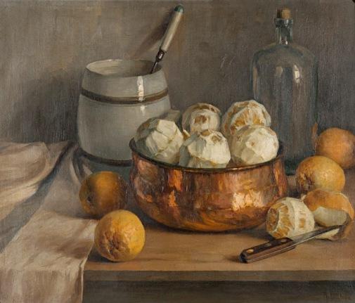 ADOLFO FONZARI - (Italia-Brasil,1880 - 1959)Natureza Morta, laranjas, ost, sd., Museu Aldo Locatelli Rubem Berta, POA