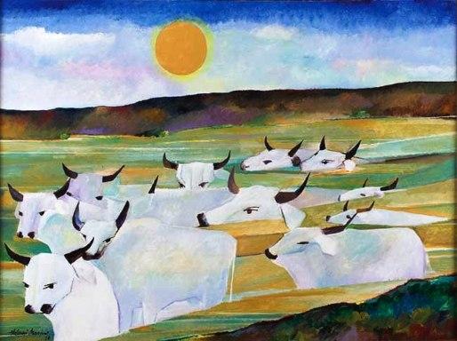 Aldemir Martins,Boiada, Acrílico sobre tela, 1986, 97 x 130 cm.
