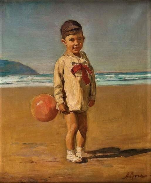 ANTÔNIO ROCCO - Menino na praia - óleo sobre tela - 50 x 42 cm -
