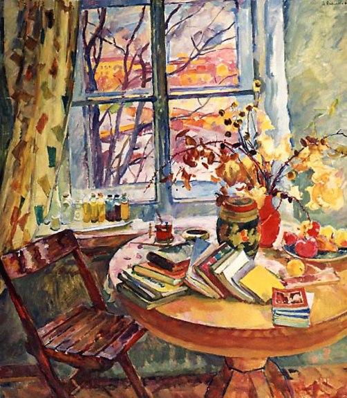 Antipova Eugenia ( Russia, 1917 - 2009 )Livros à janela, 1963, ost, 134 x 120
