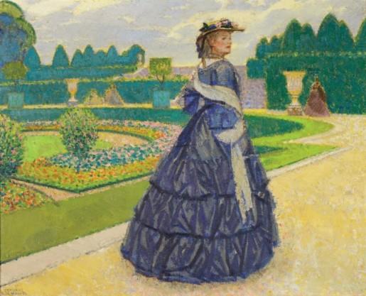 Bernard BOUTET de MONVEL (1881-1949) Elegante dans les jardins de Versailles