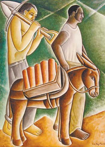 Burro de carga de telhas', do pintor Vicente Rego Monteiro, óleo sobre tela