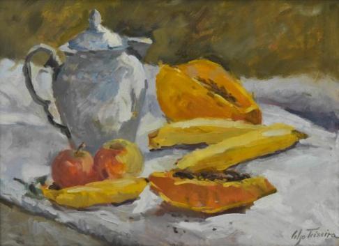 CELSO TEIXEIRA- Bule e frutas, óleo sobre madeira, 30 x 40 cm. Assinado no canto inferior direito.