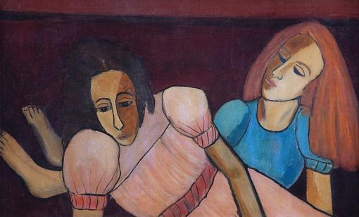 DJANIRA,Duas meninas,Óleo sobre tela. ., (c.1946).. 38 x 61 cm.