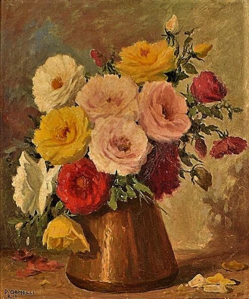 Domingos Gemelli (Brasil,) Flores,1958, o.s.t. - 55 x 46 cm. Ass. e localizado Rio