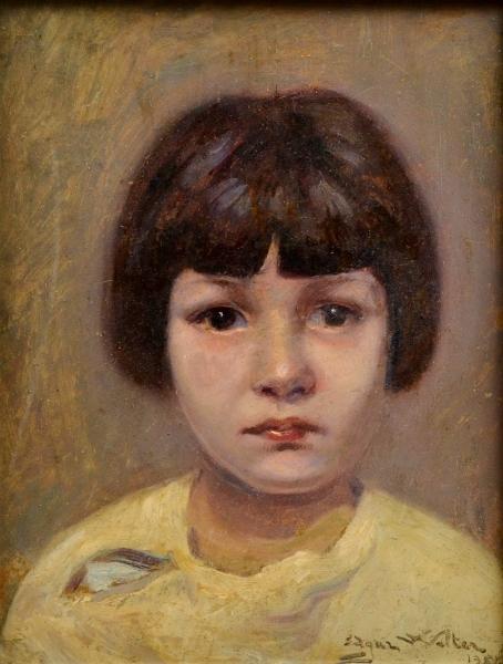 EDGAR WALTER (1917-1994). Portrait de Lucinha, óleo s eucatex, 35 X 27. Assinado e datado (1957)