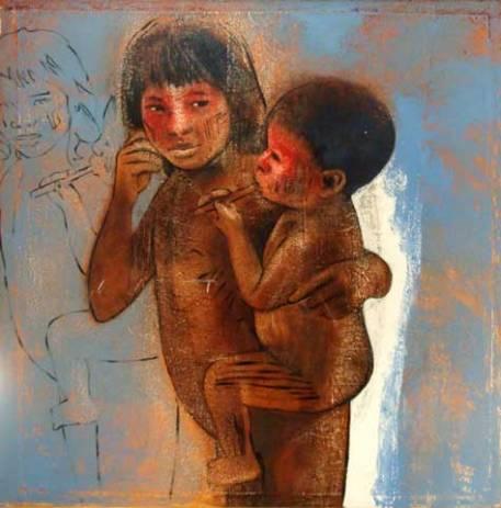 Elon Brasil(1957)Irmãos Kuikuro,2007,tec mistast,150x150cm