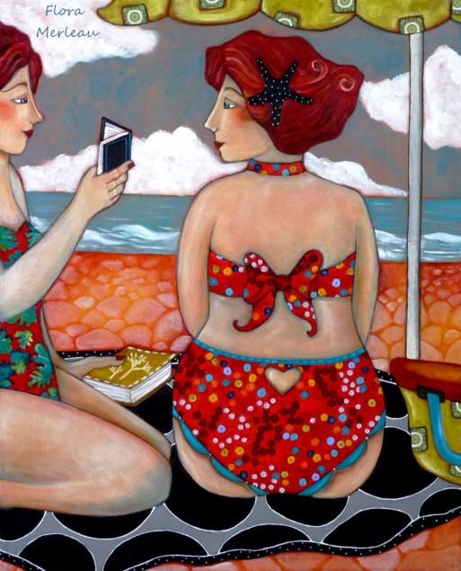 Flora Merleau lecture-ala-plage, ast, 80 x65 cm