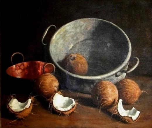 Galdino Guttmann Bicho, Tacho de cobre e cocos, 1947, ost, 60x73