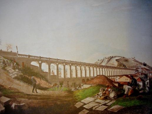 Georg Heinrich von Lowenstern, Os arcos da carioca, 1828, aquarela, 37 x 52 geyer