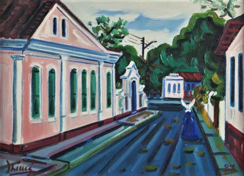 Inimá de Paula,Rua com prédio antigo (Porto Seguro - Bahia) – ost,1987 - 45 x 61
