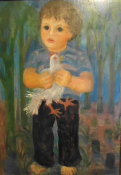 Marysia Portinari - Menino, obra datada de 1976, óleo sobre madeira 65 cm x 46 cm.