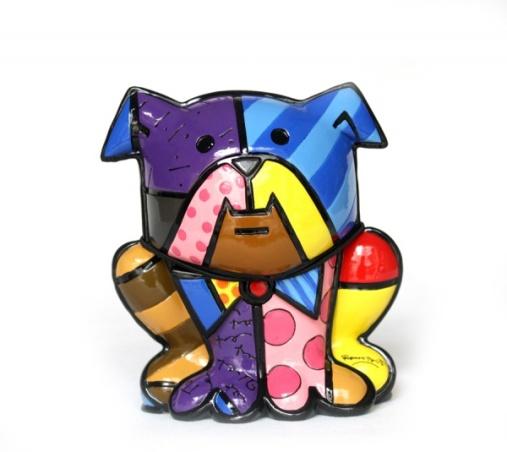 Romero Britto - Bulldog - Escultura em fibra 3291-4000 - assinada - 14x13 cm