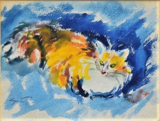 SERGIO TELLES (1936). Mon Chat, aquarela s tela, 60 X 80. Assinado e datado (2001) no c.i.e. e no verso